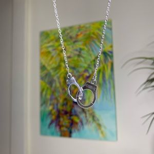 handcuff pendant silver cuffs necklace